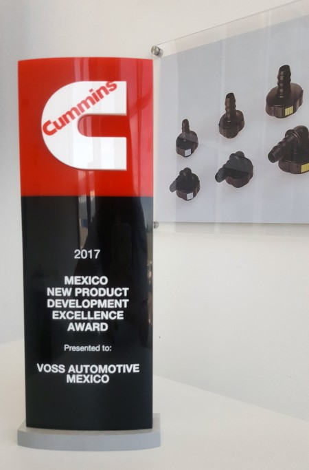 VOSS Automotive Mexico earned the Cummins 2017 New Product Development Excellence Award