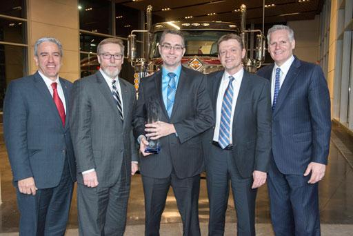 Eduardo Vultorius, CEO, and Keith Hileman, Key Account Manager, VOSS, accept the Navistar Diamond Supplier Award for 2015.
